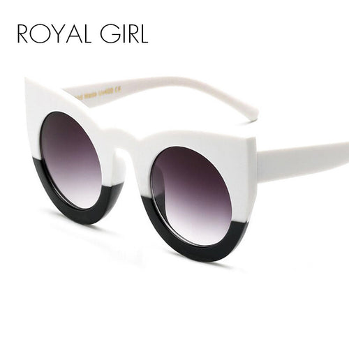 ROYAL GIRL Chunky Cat Eye Sunglasses Women Brand Designer Black White Big Frame Mirror Glasses oculos de sol feminino ss811