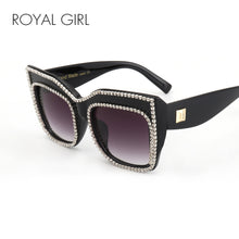 Load image into Gallery viewer, ROYAL GIRL Oversize Frame With Rhinestones Rim Sunglasses Women Unique Acetate Sun Glasses ss805