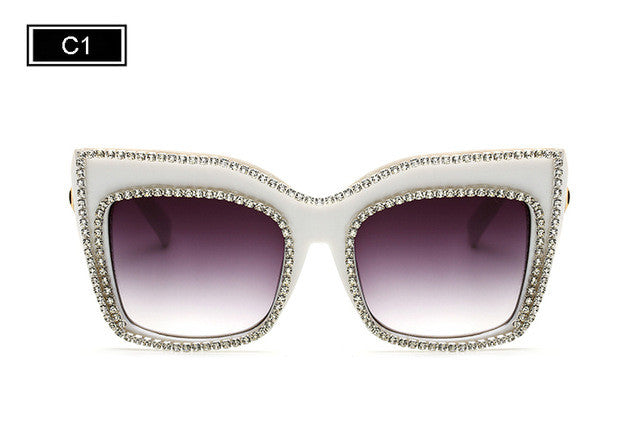 ROYAL GIRL Oversize Frame With Rhinestones Rim Sunglasses Women Unique Acetate Sun Glasses ss805