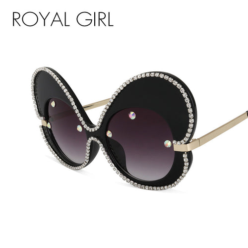 ROYAL GIRL Sunglasses Women Fashion Oversized Luxury Rhinestones Brand Designer Lady Big Frame Butterfly Glasses Oculos ss124