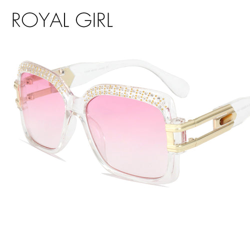 ROYAL GIRL Designer Women Sunglasses Retro Crystal Brow Square Men Sun Glasses ss186