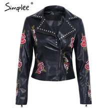 Load image into Gallery viewer, Simplee PU basic jacket coat faux leather coat Casual embroidery floral outerwear & coats Streetwear zipper leather jacket women