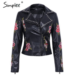 Simplee PU basic jacket coat faux leather coat Casual embroidery floral outerwear & coats Streetwear zipper leather jacket women