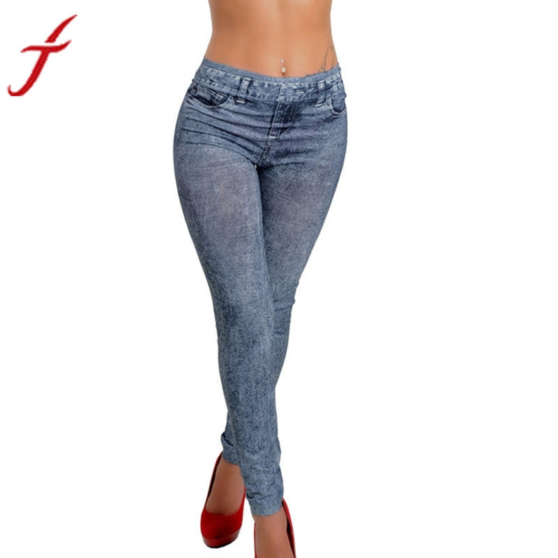 Womens Denim Snowflake Skinny Stretch Sexy Pants Soft Leggings