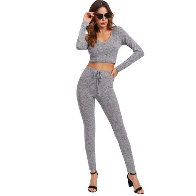 SHEIN Grey Long Sleeve Rib Knit Marled Hoodie Sexy Crop Tee and Leggings Set Autumn 2 Piece Set Women Pant and Top