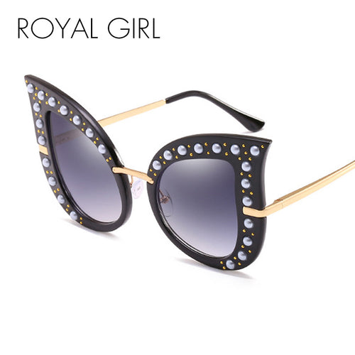 ROYAL GIRL Fashion Cat Eye Sunglasses Women Brand Designer Pearl Decoration Frame Oversize Rivet Shades ss069