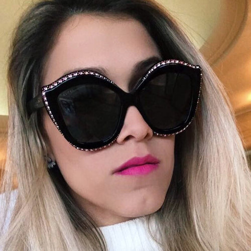 ROYAL GIRL New Cat Eye Sunglasses Women Vintage Brand Designer Crystal Diamond Frame Rivet Shades Sunglasses ss286