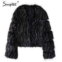 Load image into Gallery viewer, Simplee Fluffy warm faux fur coat women Elegant long sleeve female outerwear Black chic autumn winter coat jacket hairy overcoat