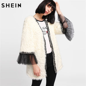 SHEIN Winter Coat Beige Women Faux Fur Coat Color Block Long Sleeve Party Womens Coats Contrast Mesh Cuff Faux Fur Coat