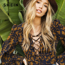 Load image into Gallery viewer, SHEIN Print Sexy Women Floral Blouses Flare Sleeve Lace Up Plunge Neck Floral Top Spring Summer Deep V Neck Zipper Blouse