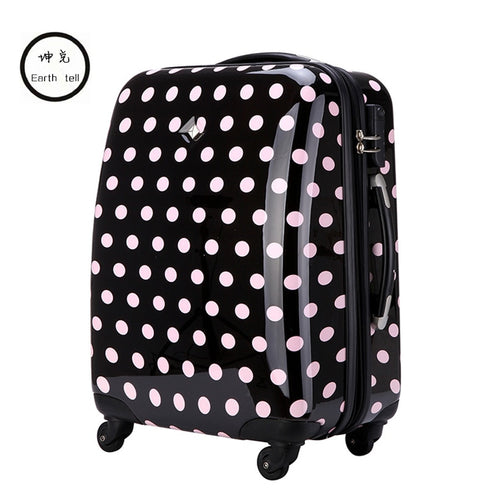KUNDUI Cute Polka Dot Trolley case bags women travel suitcase universal wheels rolling luggage bag 18 22 26 inch With extensions
