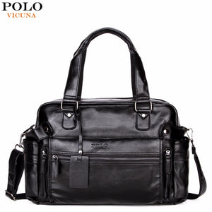 VICUNA POLO Large Capacity Men Leather Travel Bag Casual High Quality With Front Pocket Luggage Duffle Bag Handbag Shoulder Bag