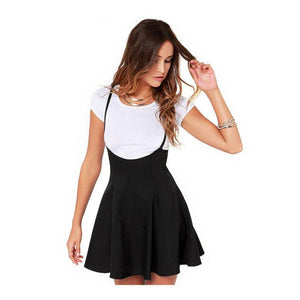 Women Fashion Black Skirt With Shoulder Straps Pleated  Dress
