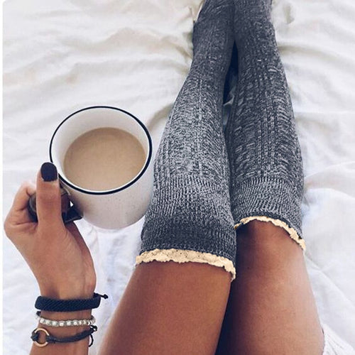 2018 Fashion Women Stockings Sexy Thigh High Socks 6 Colors Ladies Girls Solid Long Cotton Winter Lace Up  Knee Socks One Size