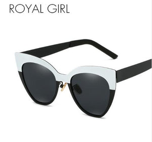 ROYAL GIRL Cat Eye Women Sunglasses 2018 Brand Designer Black White Metal Frame Eyeglasses Men Gradient Shade Oculos UV400 ss691
