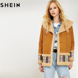 SHEIN Ginger Tribal Print Single Breasted Women Winter Outerwear 2018 Fashion Warm Indie Folk Style Soft Contrast Faux Fur Coats