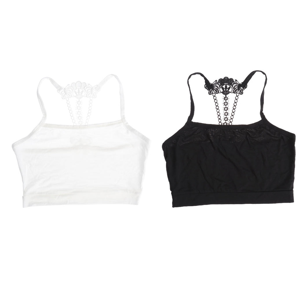 Diva Girl 2pc/Set White & Black Top Vest