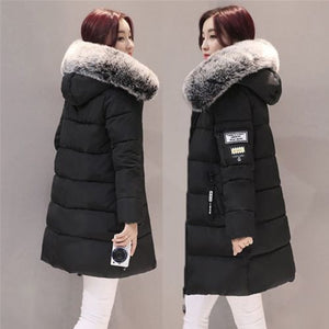 Warm Fur Fashion Hooded Quilted Coat Winter Jacket Woman 2017 Solid Color Zipper Down Cotton Parka Slim Outwear
