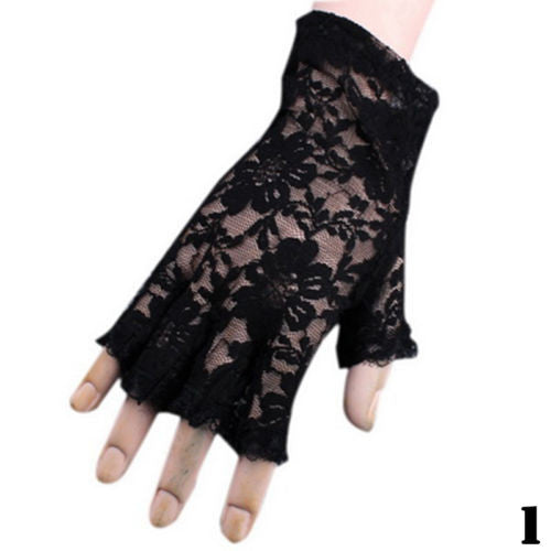 New Goth Party Sexy Dressy Women Lady Lace Gloves Mittens Fingerless Black White