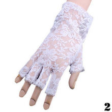 Load image into Gallery viewer, New Goth Party Sexy Dressy Women Lady Lace Gloves Mittens Fingerless Black White