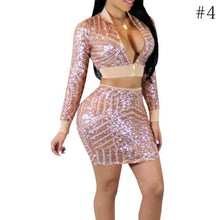 Load image into Gallery viewer, Sexy Women Mesh Sequins Dress Winter Long Sleeve Zipper Bodycon Two Piece Set Dress Casual Skinny Ladies Party Dresses