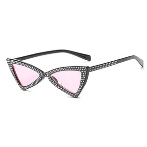 ROYAL GIRL Triangle Sunglasses Women 2018 New Rhinestone Butterfly Frame Cat Eye Sun Glasses Eyewear oculos de sol ss010