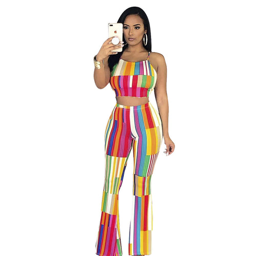 Striped Mid Waist Elastic Waist Women's Two-piece Suit for Club Party