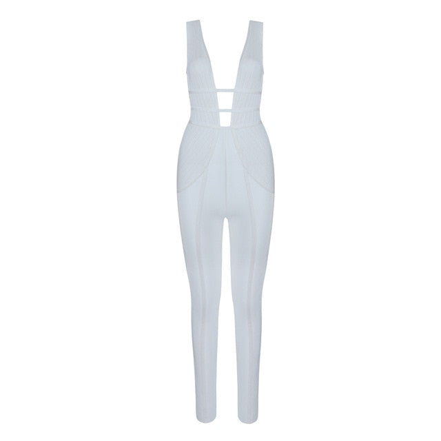 Beateen 2018 Sexy Deep V Club Party Women White  Jumpsuits Solid Cut Out Fashion Skinny Full Length Pant Jumpsuits