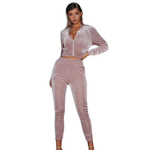 Women 2pcs Hoodies Sweatshirt Pants Sets Velvet Tracksuit Jogging Gym Sport Suit