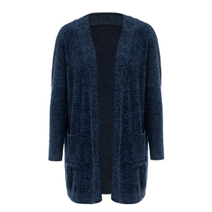 Simplee Knitted long cardigan Loose pocket chenille women cardigan Winter 2018 long sleeve female sweater coat pull femme jumper