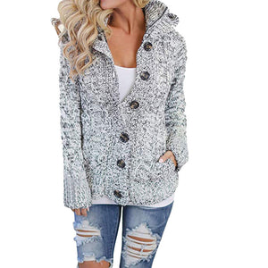 Womens Hooded Cable Knit Button Down Outwear Sweater Cardigans Coats with Pocket