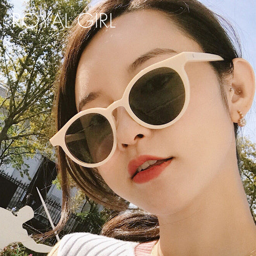 Royal Girl 2018 New Retro Sunglasses Trend Round Frame Milk Tea Color Small Frame Glasses Female s5142