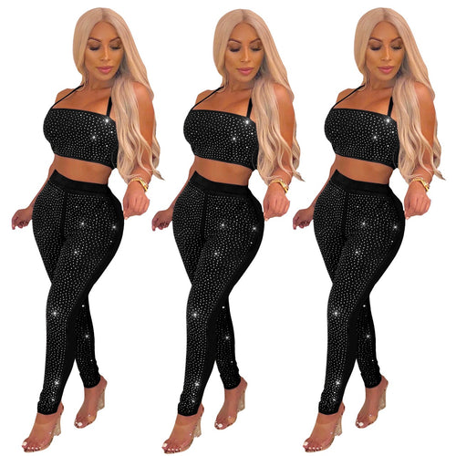 Women's Fashion Sparkle Glam Rhinestone 2 Pieces Set Halter Crop Top + Hot Drilling Pencil Pants