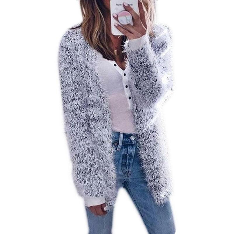Women Long Sleeve Casual Knit Coat Cardigan Fashion Pocket Sweater Hooded Loose Autumn Winter Long Coat Plus Warm Outwear
