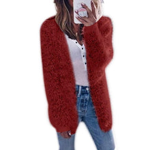 Load image into Gallery viewer, Women Long Sleeve Casual Knit Coat Cardigan Fashion Pocket Sweater Hooded Loose Autumn Winter Long Coat Plus Warm Outwear