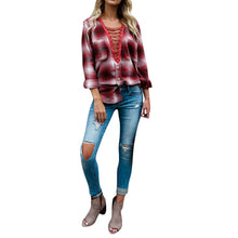 Load image into Gallery viewer, Womens Casual Striped Lattice Long Sleeve Tops T-Shirt Lace UP Loose Blouse