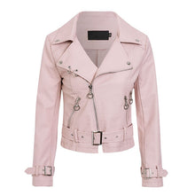 Load image into Gallery viewer, Glamaker Pu leather zippers basic jacket coat Women long sleeve genuine leather coat Female pink winter modis outwear streetwear