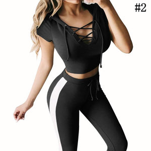 2Pcs Womens Tracksuit Hoodies Sweatshirt Crop Pants Set Hooded Sport Lounge Wear