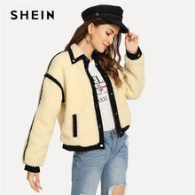 Load image into Gallery viewer, SHEIN Apricot Office Lady Elegant Single Breasted Button Teddy Stand Collar Jacket Autumn Casual Fashion Women Coat Outerwear