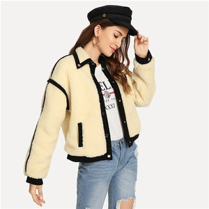 SHEIN Apricot Office Lady Elegant Single Breasted Button Teddy Stand Collar Jacket Autumn Casual Fashion Women Coat Outerwear