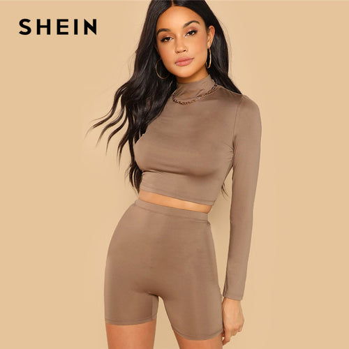 SHEIN Coffee Casual Solid Round Neck Long Sleeve Crop Tee And Legging Shorts Set 2018 Autumn Fitness Women Tow Pieces