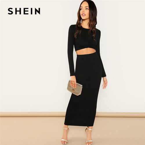 SHEIN Black Going Out Round Neck Twist Hem Crop Tee and Bodycon Skirt Long  Sleeve Set e41787a14e49