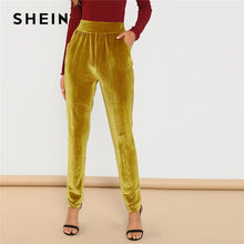 Load image into Gallery viewer, SHEIN Ginger Office Lady Solid Pocket Front Velvet Elastic Waist Cigarette Pants 2018 Autumn Fashion Casual Women Trousers