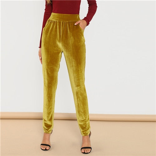 SHEIN Ginger Office Lady Solid Pocket Front Velvet Elastic Waist Cigarette Pants 2018 Autumn Fashion Casual Women Trousers