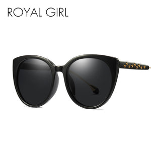 ROYAL GIRL Polarized Sunglasses Women Cat Eye Brand Designer Sun Glasses Female Oversize Metal Pentagram Oculos UV400 MS008