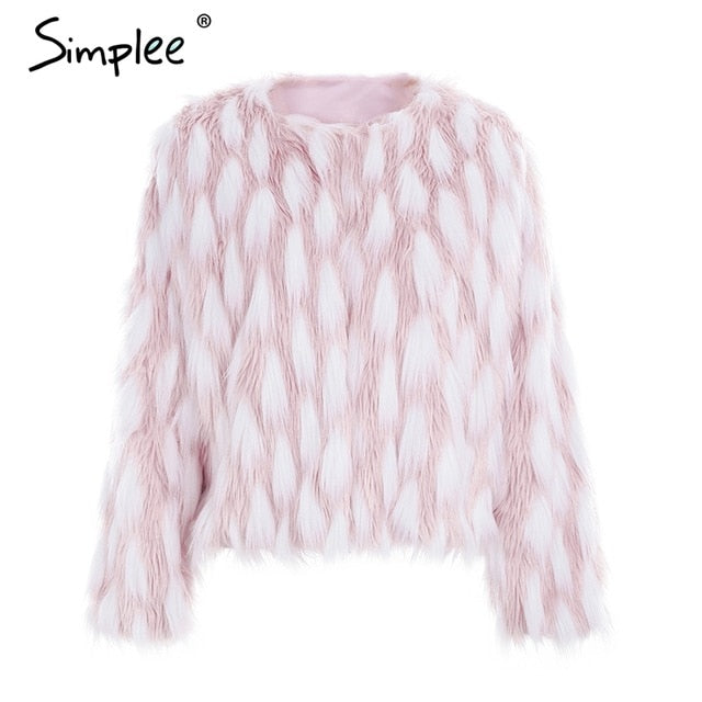 Simplee Fluffy warm faux fur coat women Fake fur short winter coat female 2018 autumn chic pink party casual furry overcoat