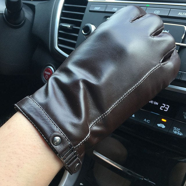 Men's Smart Touch Screen Genuine Sheepskin Leather Driving Texting Gloves Fleece Lined Black Brown