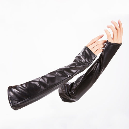 Hot Sale Women Winter Genuine Leather Gloves Women's Long Design Genuine Leather Gloves Lengthen Sheepskin Thermal Arm Sleeve