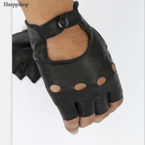 Harppihop Winter Men Genuine Leather Fingerless Gloves Black and Brown Half Finger gym Workout Fitness Driving Male Gloves G9205