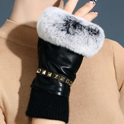 Women's Genuine Leather Fingerless Gloves Rex Rabbit Fur Silk Lined Texting Driving Black Red